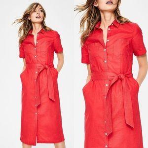 Boden Red Linen Summer Shirt Dress 10 Long